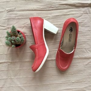 EUC Hush Puppies Red Leather Loafer Heels